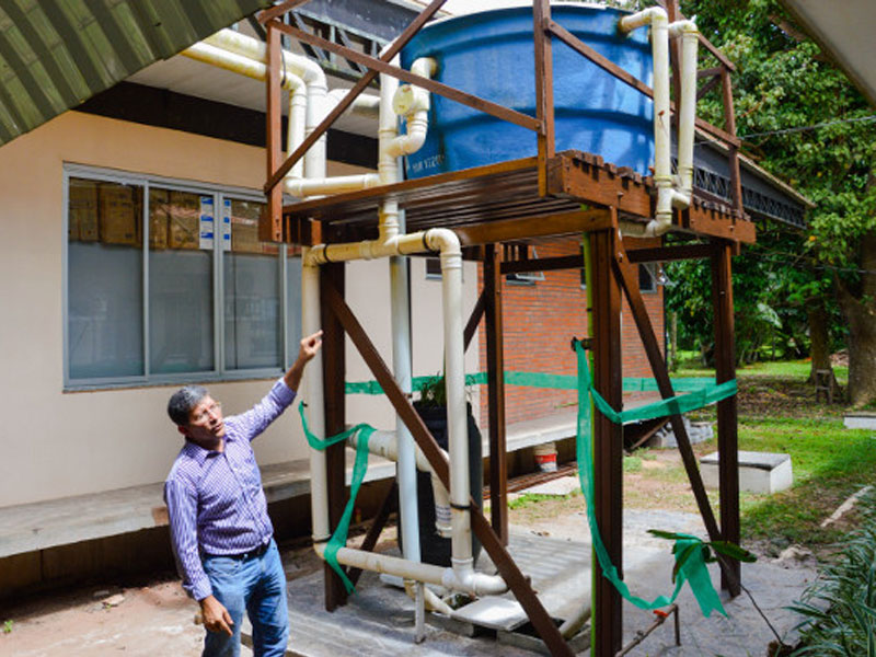 Sistema de Aproveitamento de Água de Chuva (SAAC), do Grupo de Pesquisa Aproveitamento de Água da Chuva, da UFPA FOTO: NUMA/UFPA Projeto de Tecnologia Social de Aproveitamento de Água de Chuva coordenado pelo professor Dr. Ronaldo Mendes da UFPA FOTO: NUMA/UFPA