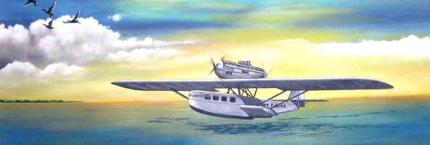Concepção artística do aerobote alemão Dornier Wal, primeira aeronave operada na aviação comercial brasileira, em 1927