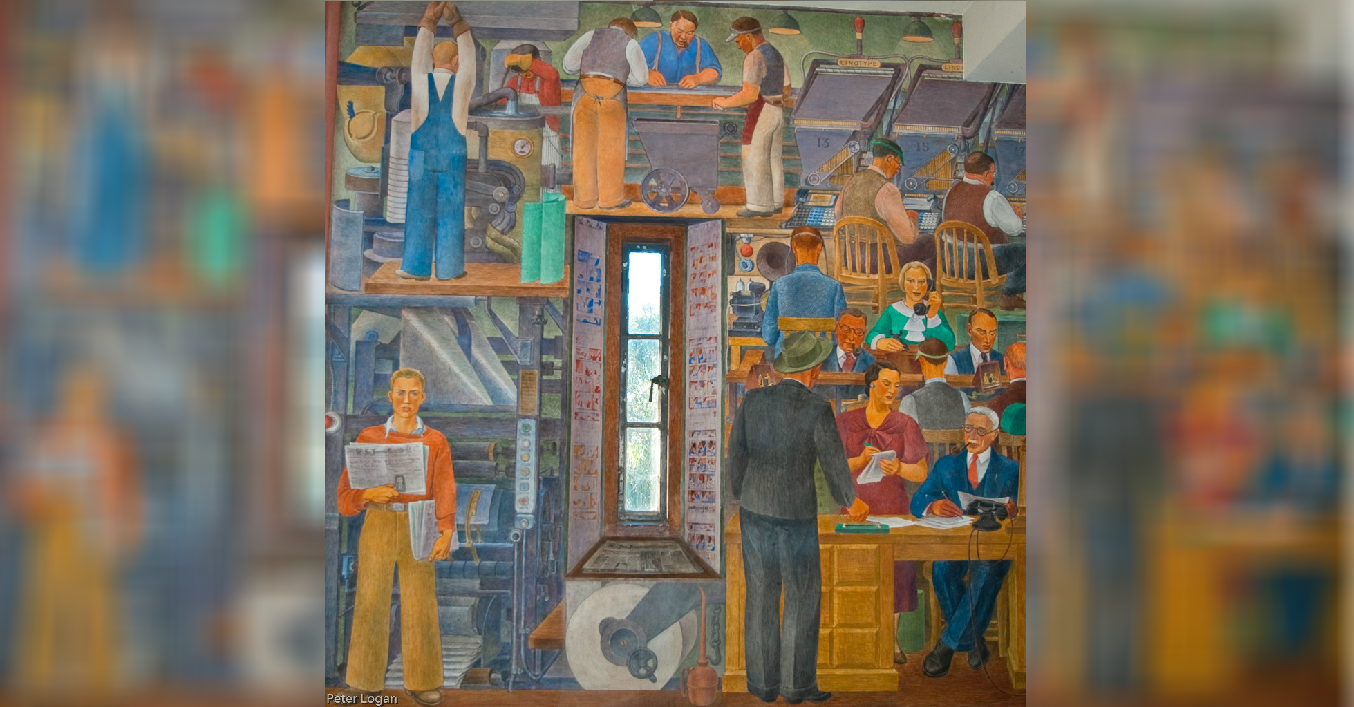 """Mural """"Printers"""" (1940) feito por vários artistas"""